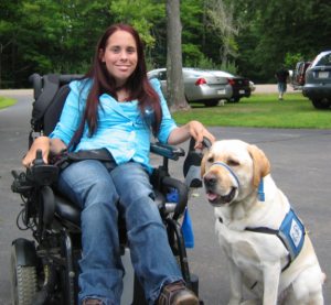 author Chris Engstrom and service dog Orik