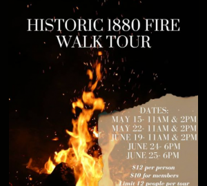 historical 1880 fire walking tour sign